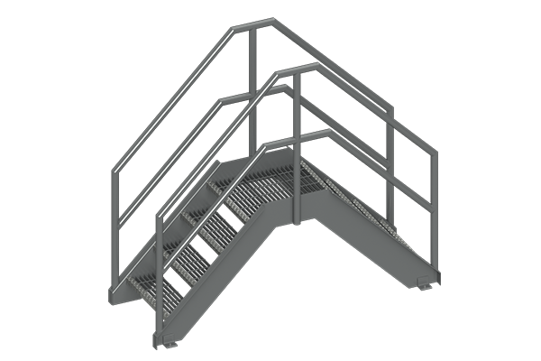 Cogbill Construction Structural Fabrication Metal Crossover Stairs