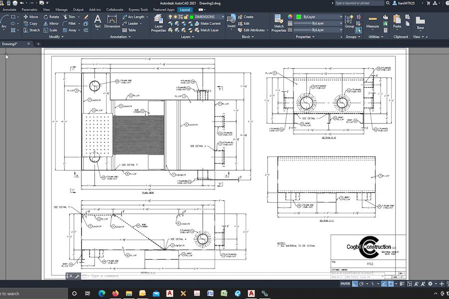 Cogbill Construction Fabrication ShopAutoCAD Drafting