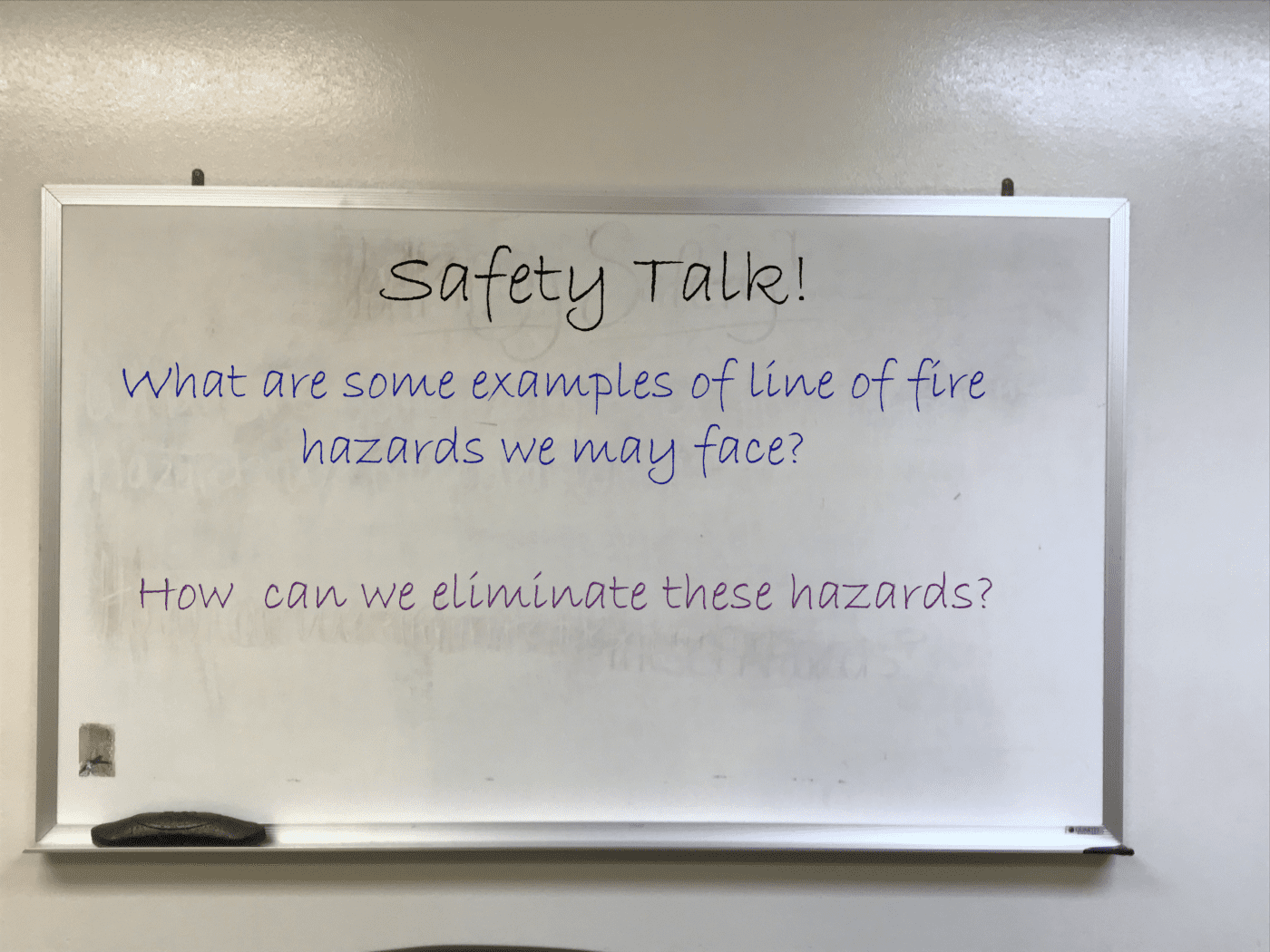 Safety Talk; Line Of Fire; shop talk; hazard